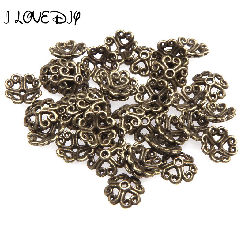 100Pcs 8mm Lucky Four Leaf Clover Anqique Silver Flower Bead Caps For Jewelry Making Metal End Beads Cap DIY Accessories