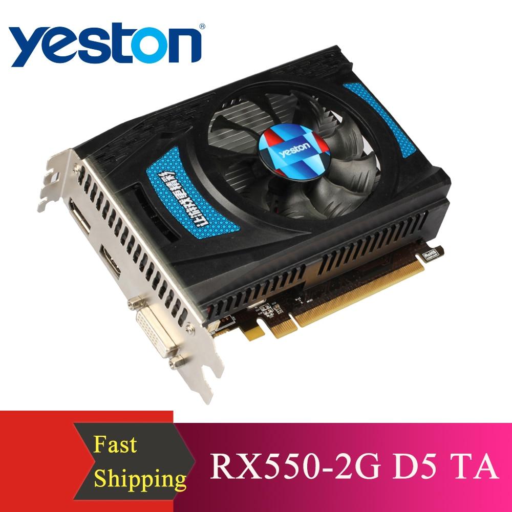 Yeston RX550-2G D5 TA Graphics Cards Radeon Chill 2GB Memory GDDR5 128Bit 6000MHz DP+HDMI+DVI-D Small Size GPU 1