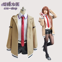 Hight Quality Anime Steins;Gate Makise Kurisu Woman Cosplay Costume Coat + Shirt + Shorts + Tie + Belt