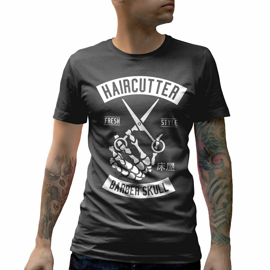 A237C Mens Crew Neck T-Shirt Haircutter Barber Shop Bart Klassische Barbershop <font><b>Gro</b></font> image