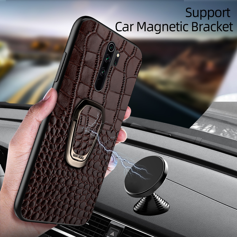 Genuine Leather Magnetic Ring Holder case For Redmi note 8 pro 8t 9 S bracket cover for For xiaomi mi note 10 Pro 9t 9lite CC9