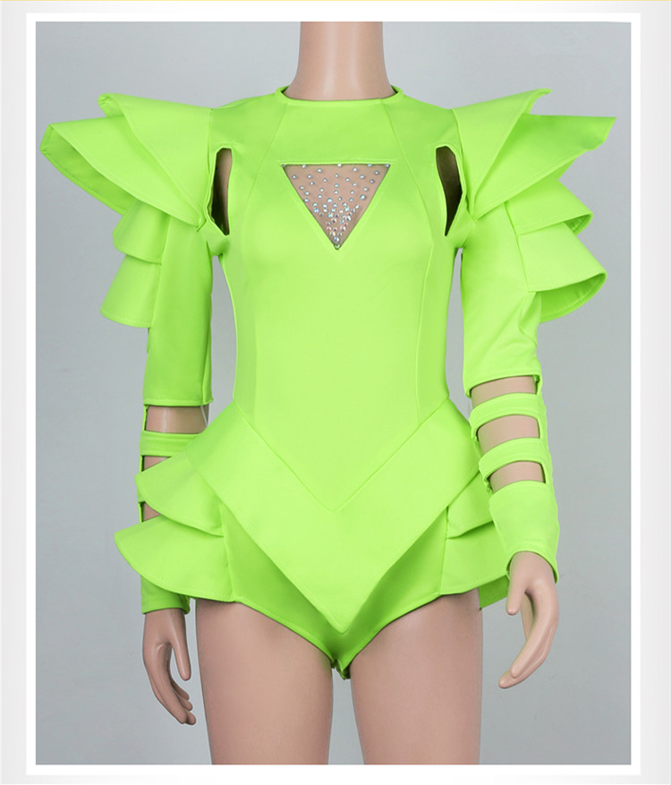Women Dance Team Jazz HIP HOP Show Stage Outfit Fluorescence Yellow/White Crystals Hollow Out Bodysuit Nightclub Dance Costumes