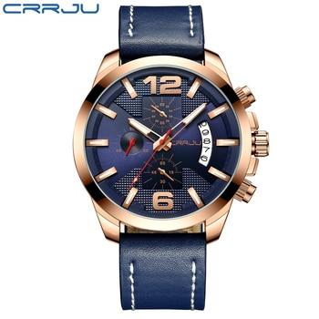 Top Luxury Brand CRRJU New Chronograph Men Watch Hot Sale Fashion Military Sport Waterproof Leather Wristwatch Relogio Masculino 2