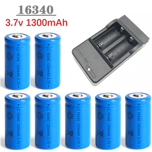 Image 1 - 1300mAh 3.7V Li ion Rechargeable 16340 Batteries CR123A Battery For LED Flashlight Travel Wall Charger For 16340 CR123A Battery