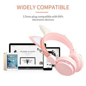 Image 2 - Auriculares con cable de unicornio para mujer cascos de música para niños, Jack de 3,5mm, para videojuegos, teléfono móvil, ordenador, niña, regalos