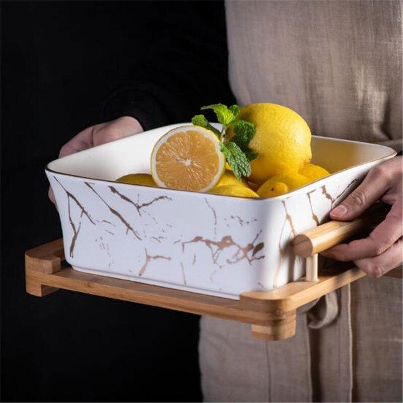Vaisselle snack assiette céramique carré fruits salade bol décoration de la maison nord européen marbre modèle