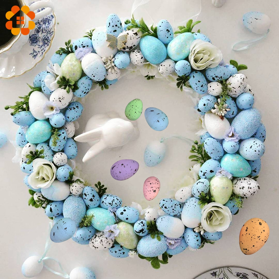 50PCs 2x3CM Happy Easter Egg Decoration Artificial Flower For Home Party DIY Craft Kids Gift Favor Easter Decoration Supplies