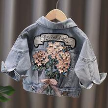 Dzieci Denim kurtki dla dziewczynek dziecko haft w kwiaty płaszcze wiosna jesień moda dziecko dzieci znosić porwane jeansy kurtki Jean