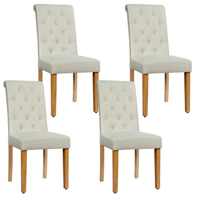 Set of 4 Tufted Dining Chair Parsons Upholstered Fabric Chair with Wooden Legs 1