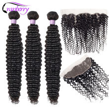 Cranberry Hair Curly Bundles With Frontal Brazillian Hair Bundles With Closure 13*4 Ear To Ear Swiss Lace Closure Remy Hair(China)