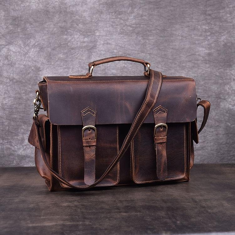 Crazy Horse Leather Shoulder Bag Messenger Bag First Layer Cowhide Portable Briefcase Cambridge Bag Male Retro Messenger Bag