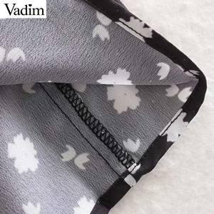 Image 5 - Vadim frauen vintage floral print mini kleid lange hülse weibliche beiläufige gerade kleider vestidos mujer QC842