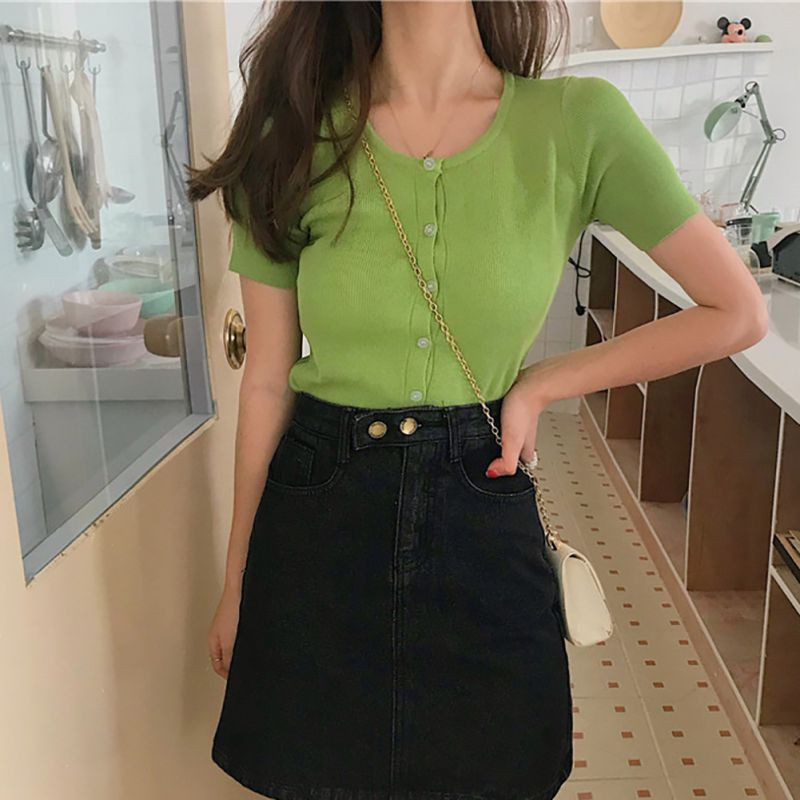 Korean Sweet Wild Thin T-shirt Square Collar High Waist Soild Color Tops Short Knit Short-Sleeved Button T-Shirts