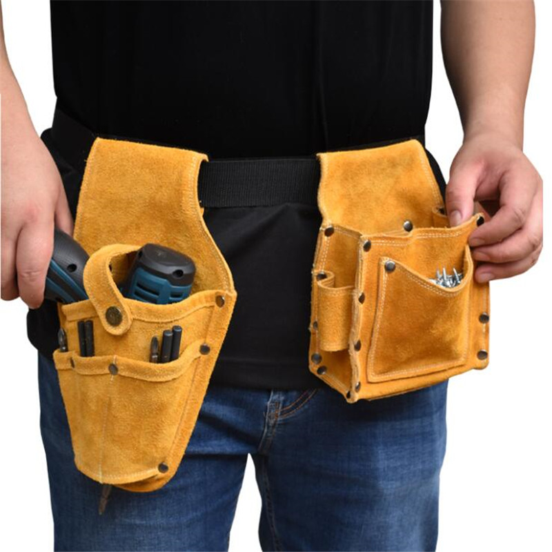 Cowhide Waist Pocket Tool Holder Belt Pouch Bag Electrician Storage Bags For Screw Wrench Hammer Pliers Woodworking Accessories