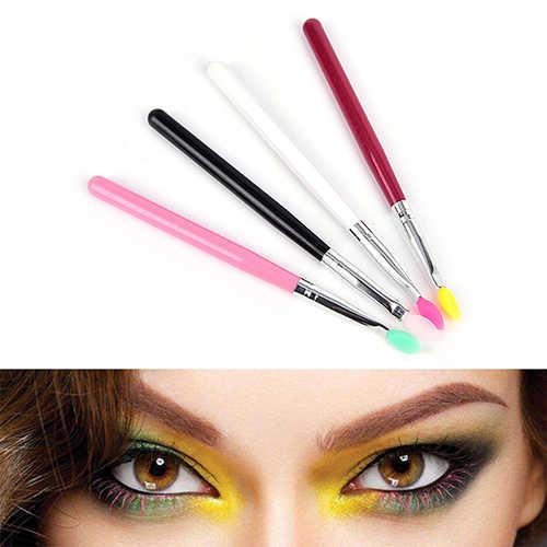 1PC professionnel Silicone tête brosse bois fard à paupières ombre à paupières poudre sourcil lèvre visage maquillage outils