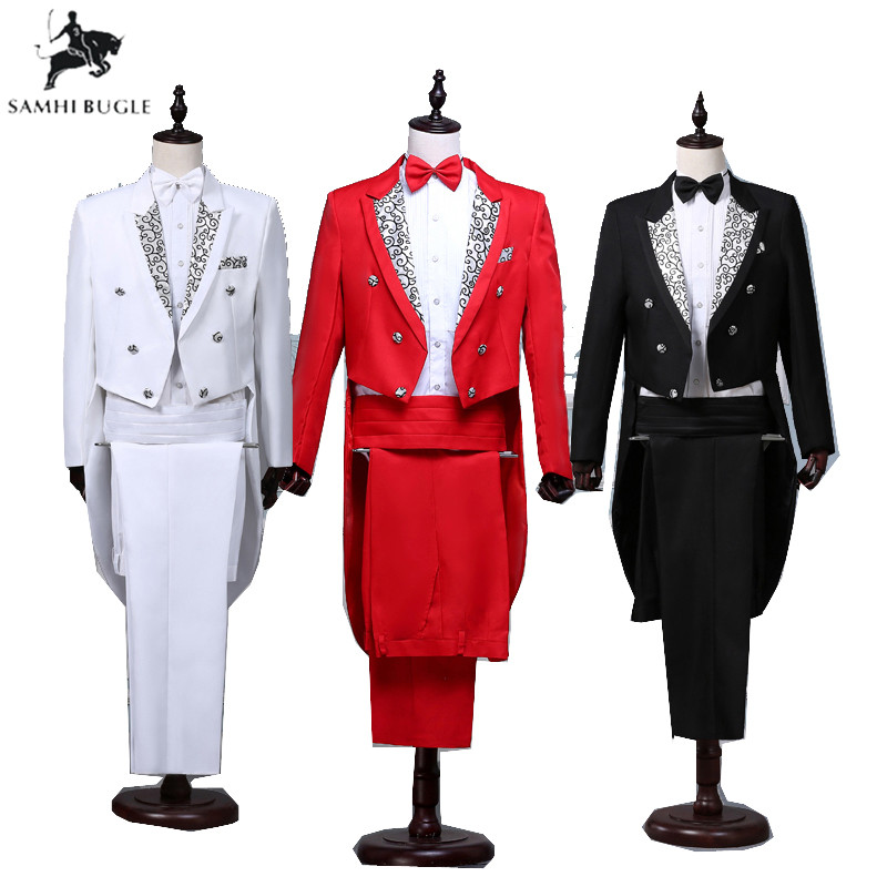 Mens Classic Red Black White Shiny Lapel Tail Coat Tuxedo Wedding Groom Stage Singer Four Piece Suit