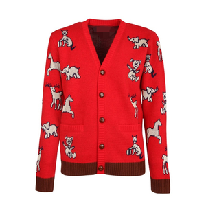 Cherry Red Vintage Animal Jacquard Luxury Cardigans Knitted Sweater Loose Elegant Office Lady 2020 New Autumn Fashion Streetwear