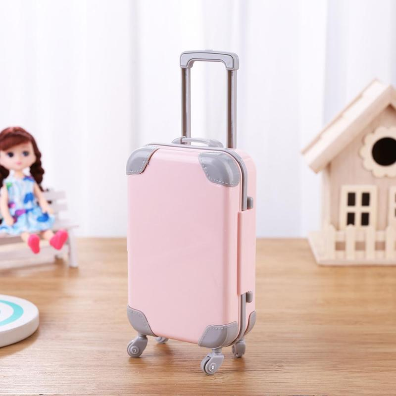 Mini Plastic Suitcase Luggage Doll Accessories Plastic Furniture Kids Toys Play House 3D Travel Train Suitcas For Baby Doll Gift