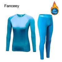 Fanceey Warm Long Johns for Women Thermal Underwear Plus Velvet Winter Thermal Clothing Woman Set Second Skin Winter Female