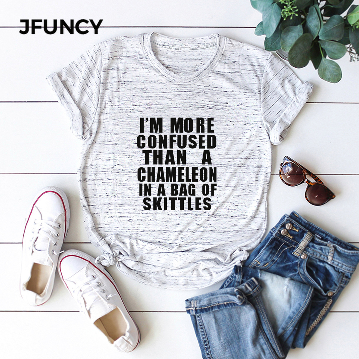 JFUNCY 2020 100% Cotton Women T-Shirts Funny Letter Printed Tees Tops Plus Size Short Sleeve Summer Casual Tshirt Woman Shirts