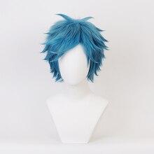 YUI TAMURA Blue Wig Cosplay Adult Halloween Synthetic Hair Yarichin Bitch Bu Club Role Playing Short Hair + Wig Cap