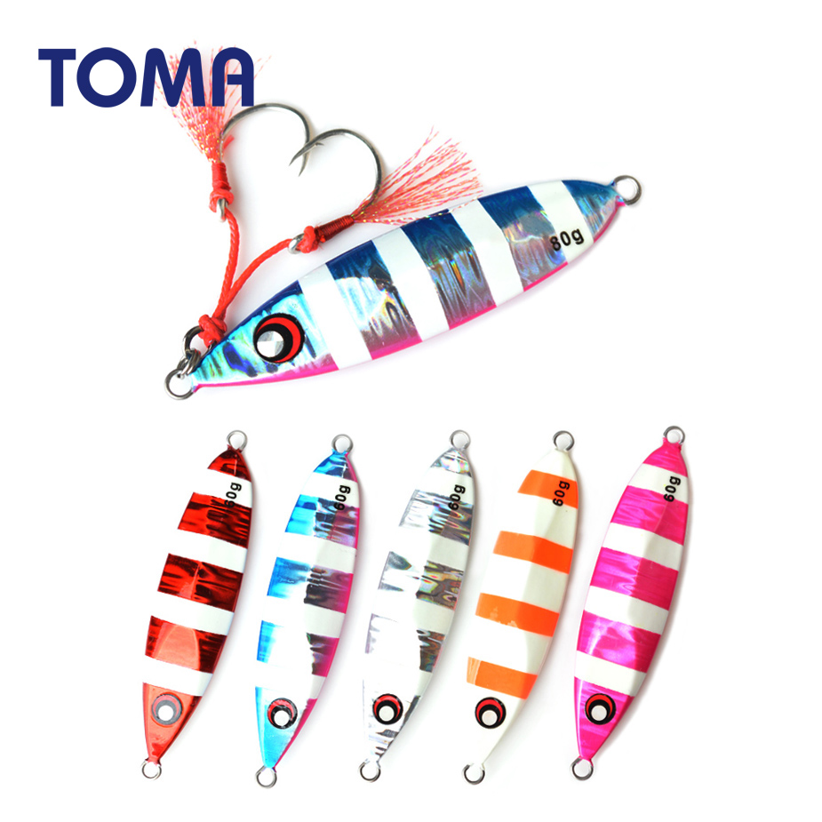 TOMA Slow Pitch Jigging Lure Luminous Saltwater 60G 80G 100G 150G Fishing Lead Jig Metal Spoon Hard Lure Bass Bait Tackle image
