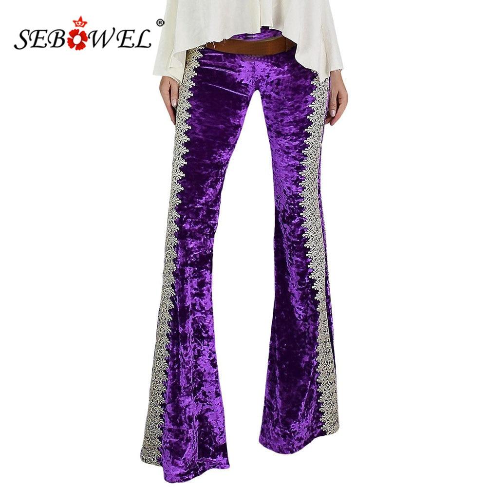 SEBOWEL automne hiver vert/violet Crochet épissure dentelle velours fusées pantalons pour femme nouveau Design femme pantalon à fond cloche S-XL