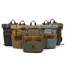 "Canvas Leather Backpacks 14"" Laptop Daypack for Traveling Europe Teenager Student Back Pack Computer Rucksacks(China)"