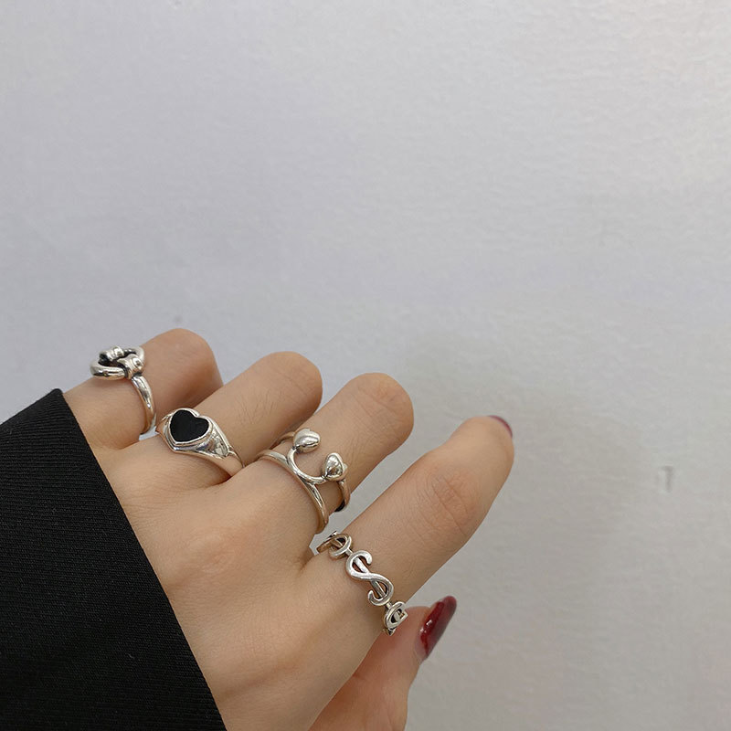 XIYANIKE 925 Sterling Silver Korea Heart-Shaped Love Peach Dollar Smiley Ring Female Hot Index Finger Tail Ring Fashion Trend 4