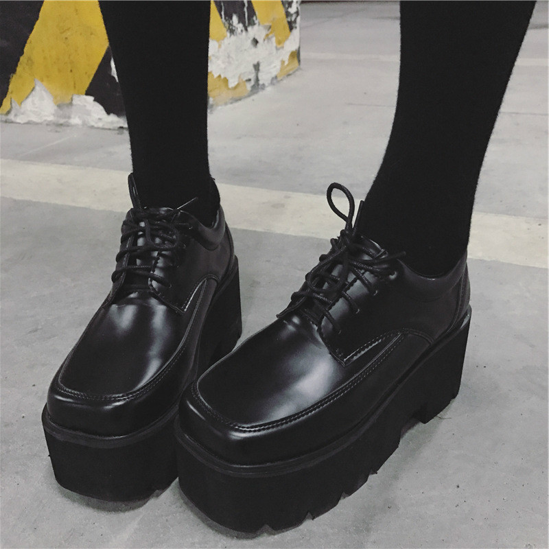 2019 New Comfortable Women's Shoes Thick-soled Fashion Single Shoes Female Round Head Students Tie Casual Shoes