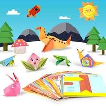54 pz/set Del Modello Del Fumetto di Casa Origami Kingergarden, Arte, Artigianato FAI DA TE Educational Giocattolo di Carta A Doppia Faccia Creatività Giocattoli per I Bambini