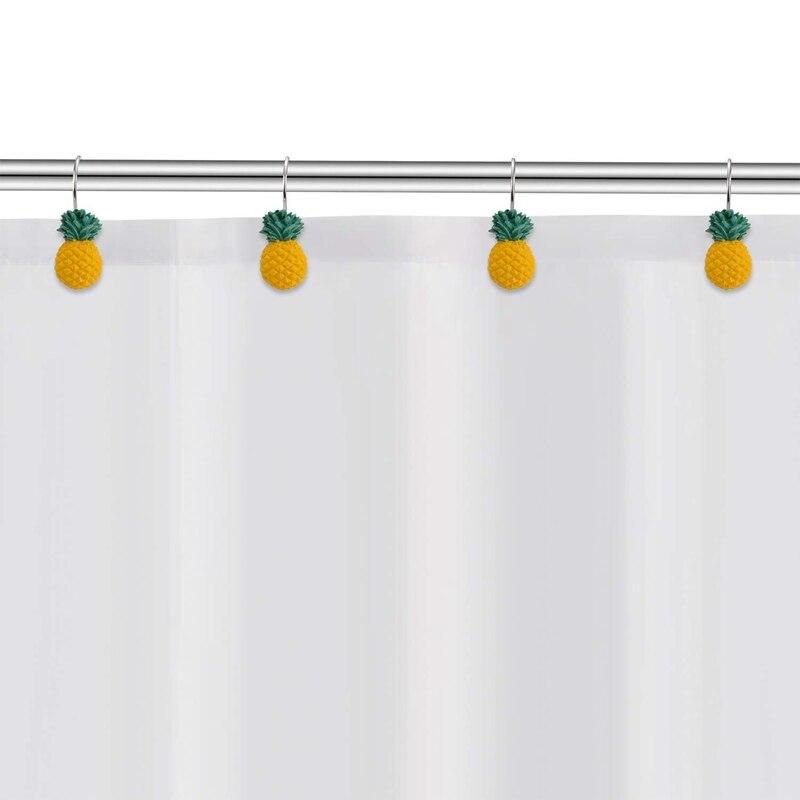 Ev ve Bahçe'ten Banyo Kancaları'de Sarı ananas duş perdesi kancaları seti 12  sevimli meyve tasarım paslanmaz kaplama duş kancaları dekoratif askı yüzükler pas yeniden title=