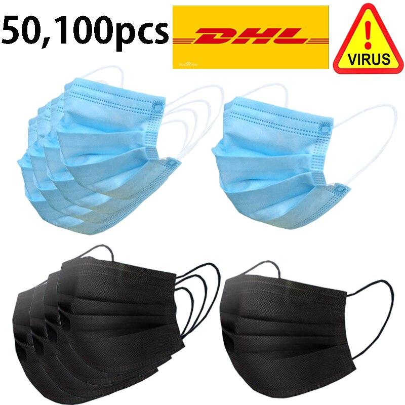 50pcs Disposable Coronavirus Anti Facial Corona Dental air pollution Virus Filter Dust Masks Black Kids Mouth Face Mask 13