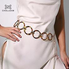 Женский дизайнерский пояс-цепочка, Женское кольцо из полимерного пластика, леопардовые модельные ремни, женские трендовые круглые золотые металлические поясные цепи 277