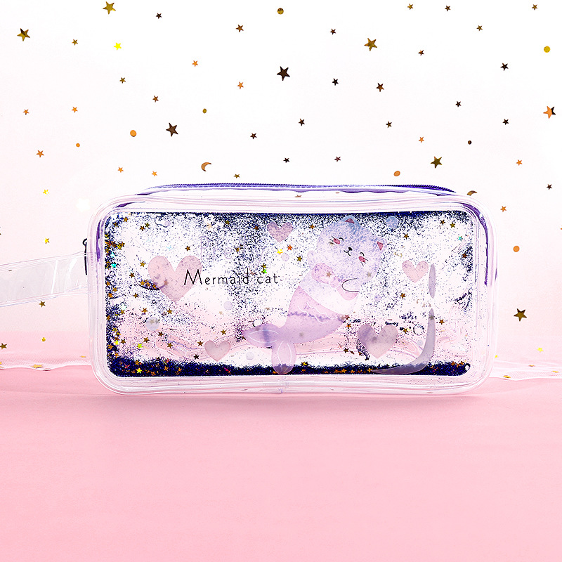 Pencil Case Quicksand Oil Pencil Pen Bags With Zipper Stationery Pouch Bag Coin Pouch Cosmetic Bag EM88