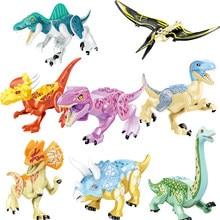 Bloques de construcción del mundo de los dinosaurios para niños, juego de ensamblaje para niños, juguete de ladrillos, Pterosaurio, Triceratops, figuras en miniatura de juguete para niños