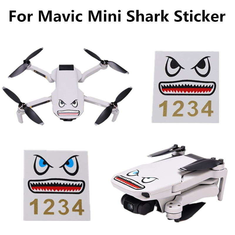 OOTDTY 1 Set Drone Battery Body Sticker Aircraft Shark Sticker Adhesive Art Decals For DJI Mavic Mini Drone Accessories