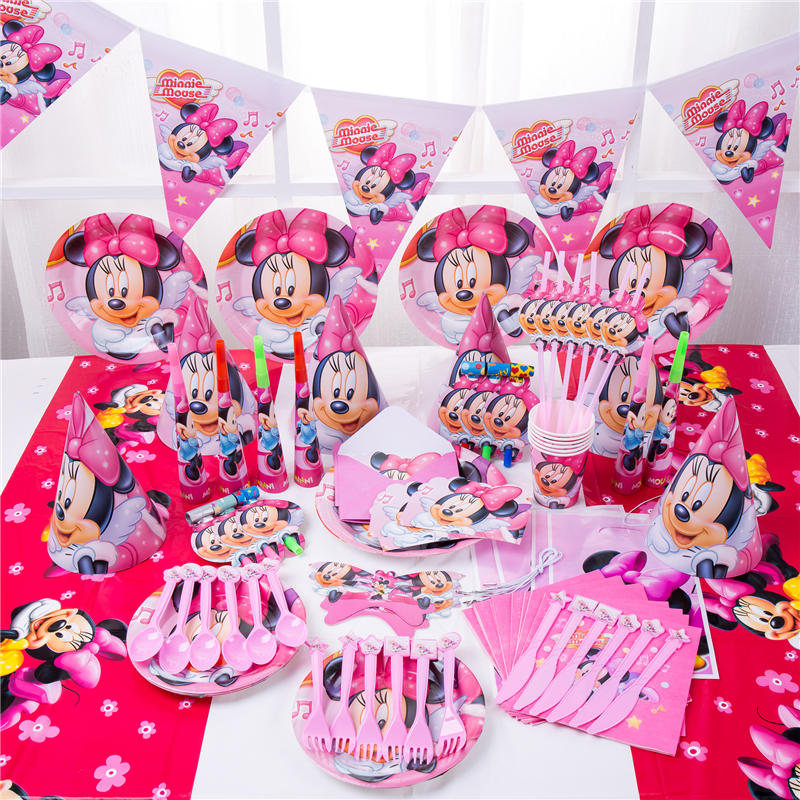 2019 Minnie Mouse Party Decorations for Kids Disposable Tableware Set Paper Napkins Straws Plate Cup Minnie Mouse Party Supplies