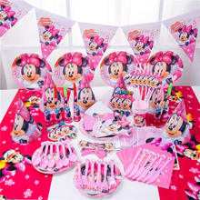 2019 Minnie Mouse Party Decorations for Kids Disposable Tableware Set Paper Napkins Straws Plate Cup Supplies