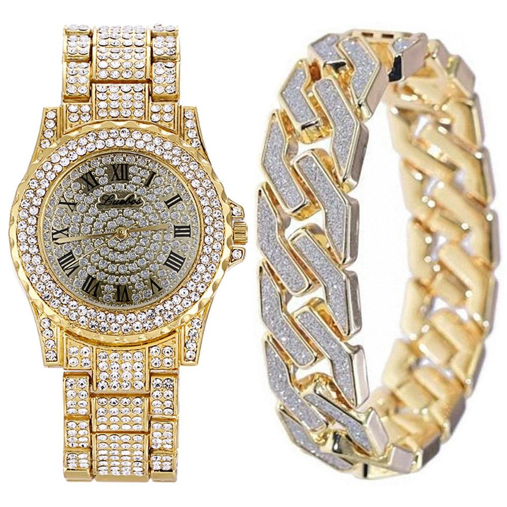Diamond Man Watch 2019 Stainless Steel Bring Bracelet 2pcs/set Wrist Watch For Men Luxury Casual Quartz Watches Gifts For Men