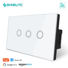 SHINELITE US Standard 3 gang Smart wifi  Touch Switch, Touch WiFi APP Control, google home control , Alexa,Tuya APP Smart Life four gang wifi control wall switch us au standard touch control by app white b support double control with power monitor