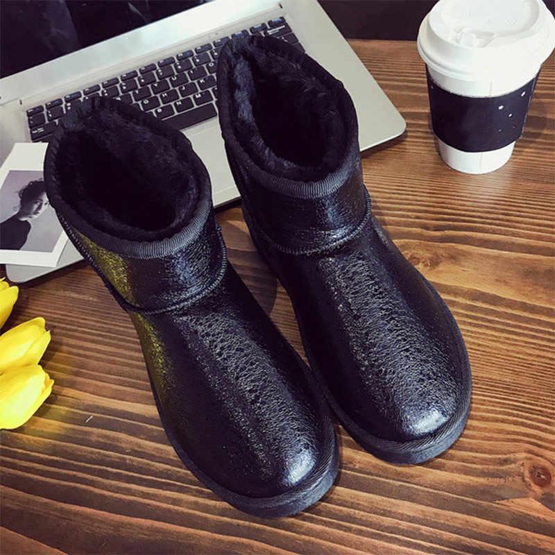 Kadın kış sıcak kar botları üzerinde kayma kısa peluş bayanlar bileğe kadar bot kadın kadın platformu kadın rahat klasik ayakkabı yeni 2019