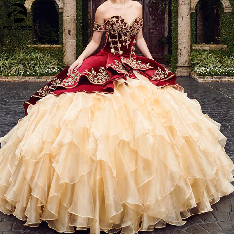 Sweetheart Burgundy Ball Gown Quinceanera Dresses With Embroidery Tiered Skirts Lace Up Vestido De Festa Sweet 16 Dress