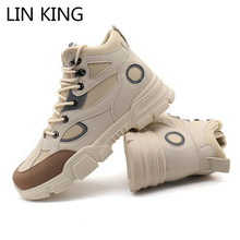 LIN KING Plus Size Men Boots Shoes Work Satefy Boots Glowing Luminous Lace Up Sn