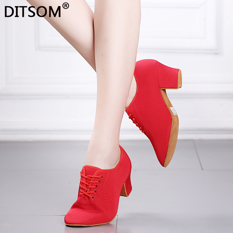 Classic Latin Dance Shoes For Woman Red Black Modern Dance Shoes Sneakers Jazz Ballroom Dance Shoes Training Shoes 5cm Heel