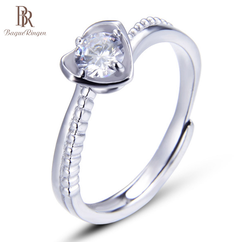 Bague Ringen S925 Sterling Silver Ring For Women Heart Crown Ladies Tail Ring Weddings Accessories Gift For Girlfriend Wife
