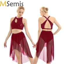 MSemis Women Adult Ballet Latin Dance Dress Lyrical Ballerina Gymnastic Costume Outfit Asymmetrical Sequins Tank Crop Top Skirts