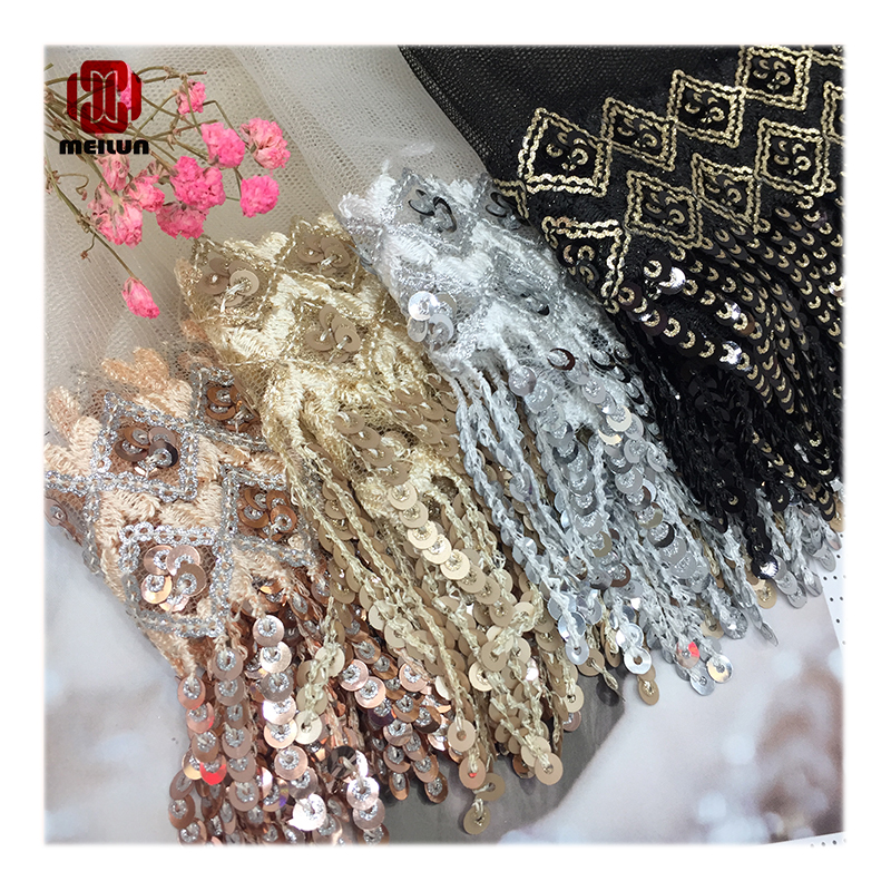 New 2020 Performance Stage Clothing Accessories Mesh Yarn Bottom Sequins Barcode Lace Tassel Ribbon Skirt Decoration Materials