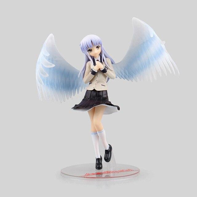 1/8 21cm New Anime Angel Beats Tenshi Tachibana Kanade White Angels Wings School Uniform Ver PVC Collectible Action Figure Doll