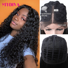 Wig Human-Hair for Women Lace-Frontal Curly Middle-Part 13x1 Pre-Plucked Kinky Remy Brazilian